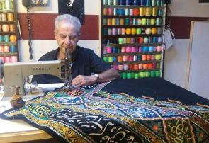 طراحی و نقش زدن روی پارچه به عشق امام حسین(ع)/روایت یک عشق الهی ۶۰ ساله